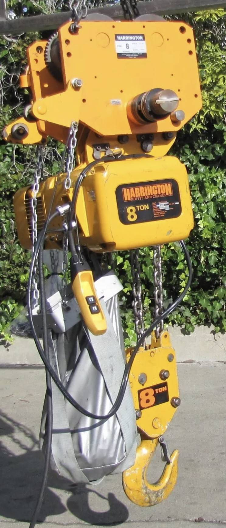 harrington 8 ton electric chain hoist with manual trolley  item  information